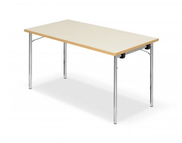 Design Klapptisch DEMUS, Chromgestell mit MELAMINHARZ-Tisch