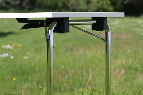 Design Klapptisch DEGUS, Chromgestell mit MELAMINHARZ-Tisch